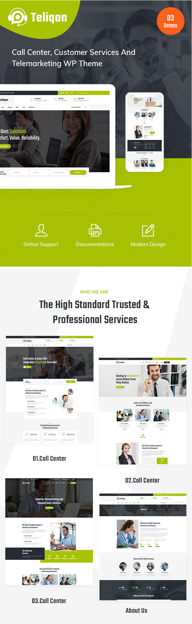 Teliqon Call Center and Telemarketing WordPress Theme